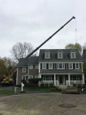 Crane Tree Removal Over House